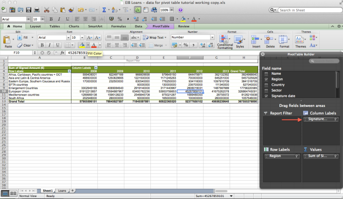 Using both the column and rows field
