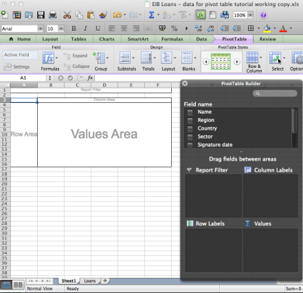 Pivot table - starting point