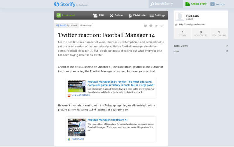 Storify curation - reaction to FM 14