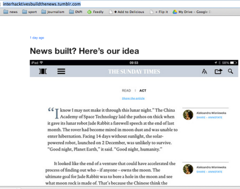 screenshot from interhacktives build the news tumblr