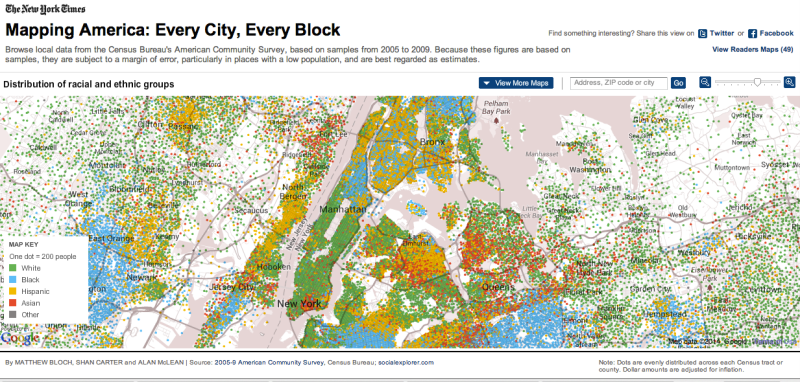 Screenshot of 'Mapping America' - A New York Times data journalism project
